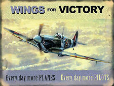 Wings For Victory, Retro Vintage Nostalgic Metal Sign Wall Plaque Planes/Pilots