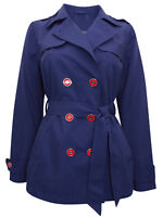 M&S PLUS SIZE LADIES WOMENS NAVY PINK Belted Trench Coat  8 10 12 14 16 18 20 22