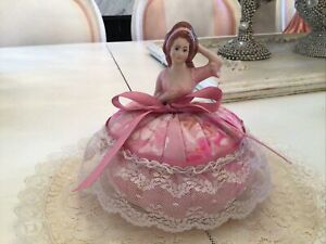 vtg style half doll pink fabric net lace victorian lady Pin Cushion