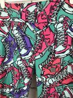LuLaRoe LLR HIGH TOPS SNEAKER Leggings Chucks Green With Pink Purple Trainers OS