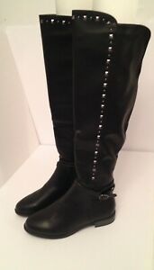 Boots Size 6.5 Rialto Black Leather Silver Studs Knee High Biker Babe Clubwear