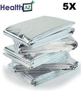 5 X Premium FOIL Thermal Emergency BLANKET, Mylar, Solar, Space Camping Survival