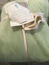 Pottery Barn Kids Luxe Chamois Duvet Cover Green Full/Queen NEW