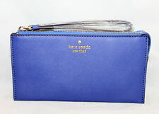 NWOT KATE SPADE Royal Blue Leather Zip Wristlet 3 Interior Sections Gold Hdwr