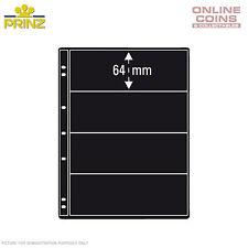 PRINZ ProFil 4 Pocket Black Banknote/ Stamp Album Pages Pack of 5