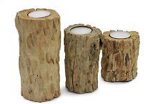 Driftwood tea light candle holder rustic shabby chic handmade 3 piece pillar set