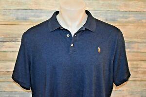 POLO RALPH LAUREN CLASSIC FIT XL Men's S/S Soft Cotton Shirt Heather Navy