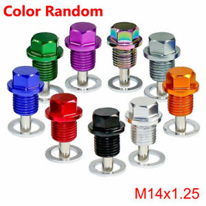 Anodized Engine Magnetic Oil Pan Drain Plug Bolt Kit Washer M14 x 1.5MM Screw df