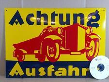 Achtung AUSFAHRT Emailschild Emaille smalt enamel sign 35 x  50 cm
