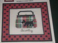 Vtg Jeanne Bowers Scotty Scottie Plaid Purse Checks Cross Stitch Pattern #me280