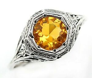 2CT Golden Citrine 925 Solid Sterling Silver Art Deco Style Ring Sz 9, FL1