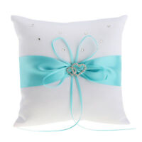 Wedding Ceremony Satin Double Heart Ring Pillow Ribbon Ring Bearer Cushion