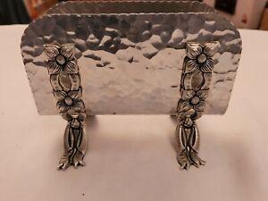 Vintage Rodney Kent Aluminum Napkin Holder Flowers Design