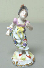 ANTIQUE ACHILLE BLOCK FRENCH PORCELAIN FIGURINE, YOUNG LADY IN PERIOD CLOTHING