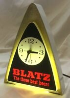 Vintage BLATZ Beer Lighted CLOCK  Bar Advertising Sign - Works Well!  1970