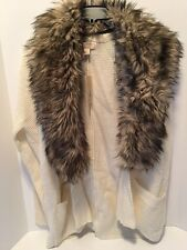 Michael Kors Cream Sweater Cardigan with Removable Fox Fur Collar Size M NWT