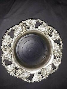 Vintage  Wine Bottle Holder Coaster By Godinger Silver Art Co Grape  Design