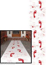 TAPIS BLANC de sang Traces Pieds Sanglants Décoration de Salle HALLOWEEN NEUF