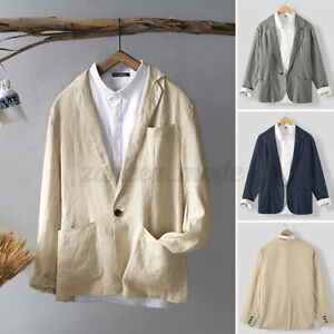 Men's Cotton Blazer Summer Button T shirt Formal Jacket Outwear Coats Top Cape