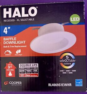 """Halo RL4 Series 4"""" Baffle Downlight Selectable CCT LED Recessed Light NEW IN BOX"""