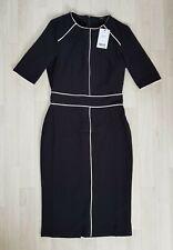 NEXT size 8 black PENCIL DRESS smart OFFICE WEAR white PIPING work MIDI knee