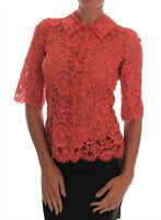 DOLCE & GABBANA Blouse Crystal Button Cardigan Floral Lace IT38/US4/XS RRP $1780