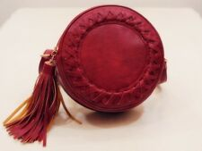NEW RED SHOULDER CROSSBODY CIRCLE BAG WITH TASSELS