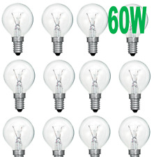 60w Incandescent CLEAR Golf Ball Light Bulb SES E14 230-240 Pack of 10