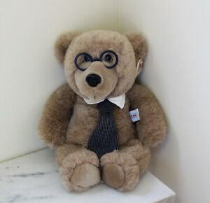 """Heartline Vintage 1987 Teddy Bear with Glasses and Tie; """"Because You're Special"""""""