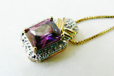 GOLD PLATE ON STERLING SILVER PURPLE CZ SOLITAIRE PENDANT CHAIN NECKLACE ITALY