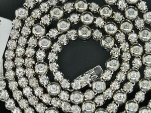 """2.00 Cttw Diamonds 1 Row Rosary Mens Chain Sterling Silver White Gold Finish 34"""""""