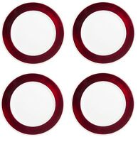 4 Pack White Charger Plates W/ Red Removable Rings - Durable Charger Plate Set