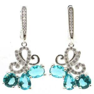 Gorgeous Rich Blue Aquamarine White CZ Ladies Party Silver Earrings