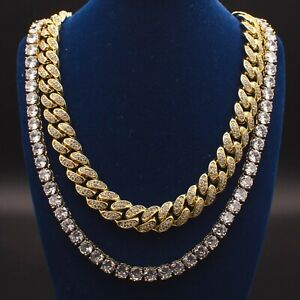 Mens  Miami Cuban Link Chain Diamond Tennis Chain Real 14k Yellow Gold Solid