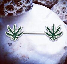 Mary Jane | Weed Nipple Bars Silver Nipple Rings Marijuana Leaf Nipple Piercing