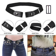 Ladies Men Black Buckleless Buckle Free Jeans Belt Elastic Waistband Invisible