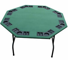 "52"" Octagon Green Felt Card Game Poker Table Folding Steel Legs & Black/Burgundy"