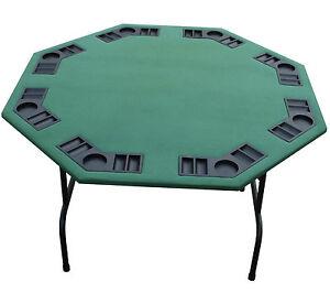 "52"" Octagon Green Felt Poker Table, Folding Steel Legs 4 Texas Holdem Card Games"