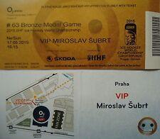 mint VIP TICKET Platz 3 Eishockey WM 17.5.2015 Tschechien - USA  in Prag
