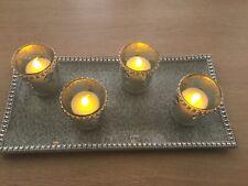 More details for tea lights, candle holder & plate base, baytex, set of 4, table decoration