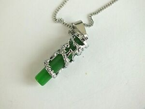 CHINESE GREEN JADE DRAGON AMULET PENDANT COIN NECKLACE ZODIAC ANIMAL BIRTHDAY