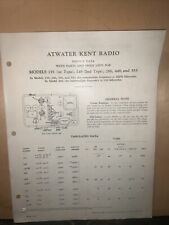 Atwater Kent Radio -Service Data/Parts List- For Models 155,246,266,448 & 555.