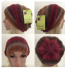 HAND KNITTED LADIES EUROPE WOOL WITH EXCITING COLOUR COMBINATION SLOUCHY BEANIE