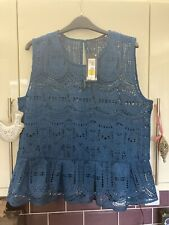 Blue / Green Lace Top From Marks & Spencers, Size 16 - Brand New