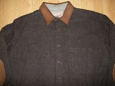 WOOLRICH WOOL BLACK&BROWN PLAID LS BUTTON UP SHIRT/JACKET W/ELBOW PATCHES,LARGE