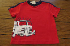 Boy SS Shirt Sz 12 mo Solid Red Fire Engine Transfer 100% Cotton Okie Dokie NWT