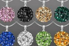 20pcs/lot 10mm mixed ball Silver Plated snake chain Crystal Shamballa Necklace