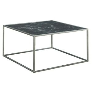 Convenience Concepts Gold Coast Marble Coffee Table, Black/Silver - 413482MBLS