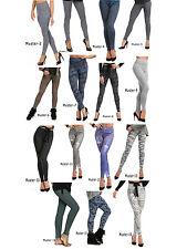 Damen Leggings lang hoher Bund Hose Muster Leggins Stretch gekämmte Baumwolle