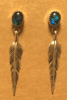 Circle JW Sterling Silver Earrings Blue Abalone and Feathers. EUC